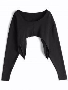 Asymmetric Streetwear Cropped Sweatshirt - Black