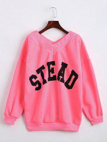 Drop Shoulder V Neck Letter Sweatshirt - Fluorescent Pink