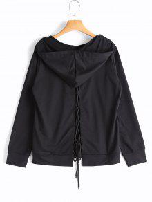 Back Lace Up Kangaroo Pocket Hoodie - Black S