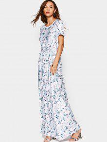Elastic Waist Short Sleeve Floral Maxi Dress - Floral S