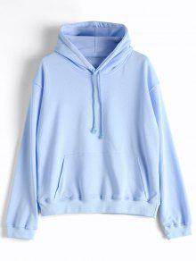 Casual Kangaroo Pocket Plain Hoodie - Light Blue L