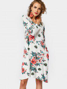 Vestido Redondo Con Estampado De Flores - Floral Xl