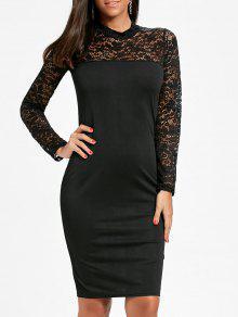 الدانتيل إدراج بوديكون فستان طويل الأكمام - أسود M