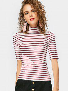 High Neck Striped Tee - Deep Red S