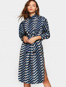 Buttoned Belted Oblique Stripes Midi Dress - Multicolor S