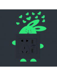 الكرتون الأرنب شكل مضيئة دي التبديل ملصقات الحائط - أخضر