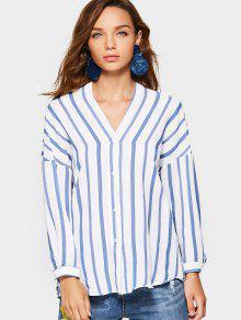 Drop Shoulder Crossed Back Stripes Blouse - Stripe S