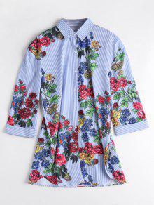 Side Slit Striped Floral Shirt - Stripe S