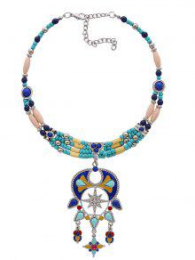 Statement Beaded Teardrop Bib Necklace - Blue