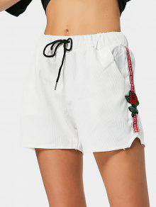 Floral Patched Drawstring High Waist Shorts - White