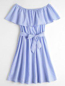Overlay Off Shoulder Striped Belted Dress - Blue And White S