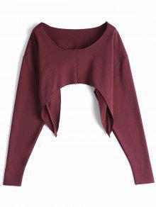 Asymmetric Streetwear Cropped Sweatshirt - Burgundy