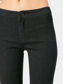 102df6b0916f6 24% OFF] 2019 Pantalon Slim Taille Haute Déchiré Dans Noir | ZAFUL ...