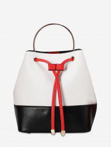 Metal Handle Colour Block Tote Bag - White And Black