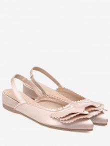 Toothed Edge Slingback Flat Shoes - Light Pink 39