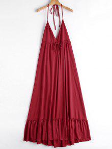 Drawstring Halter Ruffles Maxi Dress - Red M