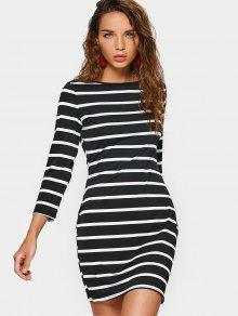 Stripes Long Sleeve Mini Bodycon Dress - Stripe S