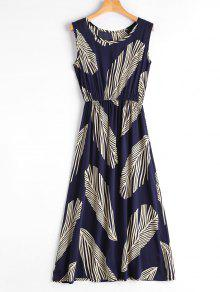 فستان طباعة الورقة بلا أكمام ميدي - ازرق غامق M