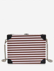 Box Shaped Striped Pattern Crossbody Bag - Dark Auburn