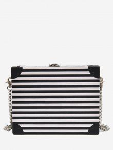 Box Shaped Striped Pattern Crossbody Bag - White And Black
