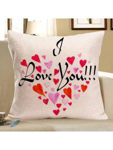 الحب الكلمات القلب المطبوعة ساحة الكتان وسادة القضية - أحمر W18 بوصة * L18 بوصة