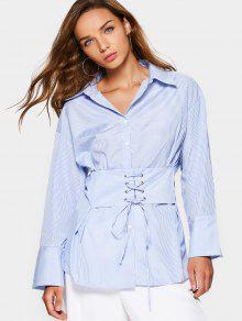 Corset Stripes Lace Up Shirt - Stripe S