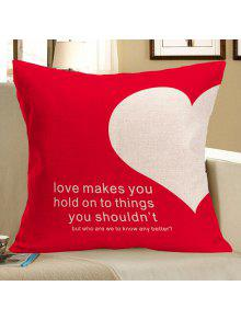 الحب القلب المطبوعة ساحة وسادة القضية - أحمر W18 بوصة * L18 بوصة