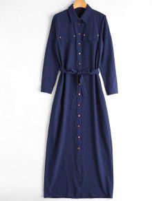 Belted Single Breasted Maxi Shirt Dress - Blue Xl