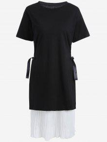 Plus Size Pleated Cami Dress With Outer Dress - White And Black 5xl
