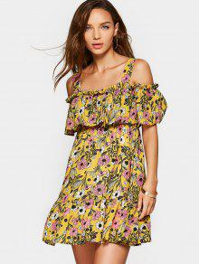 Floral Overlap Cold Shoulder Mini Dress - Yellow