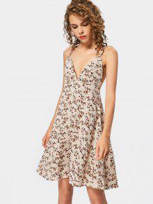 Floral Print Empire Waist Cami Dress - Floral S