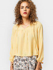 Self Tie Long Sleeve Chiffon Shirt - Yellow Xl