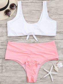 Plus Size High Cut Two Tone Ruched Bikini - Pink And White Xl