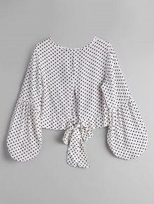 Bow Tied Polka Dot Blouse - White And Black S