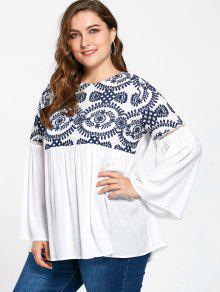 Plus Size Embroidery Flare Sleeve Bohemian Blouse - White 5xl