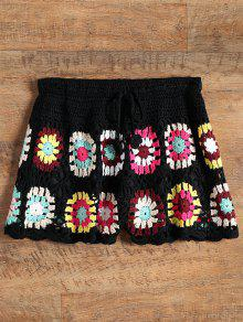 Overlay Flower Crochet Cover Up Shorts - Black