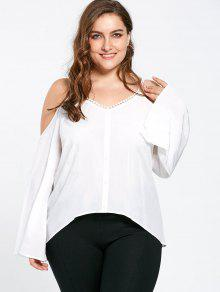 Plus Size Dew Shoulder Flare Sleeve Blouse - White 5xl