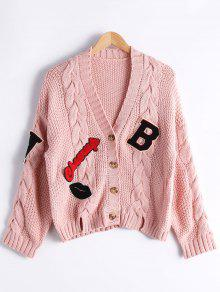 Patchwork Button Up Cable Knit Cardigan - Pink