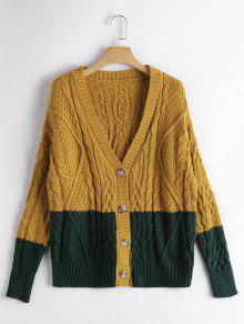 Button Up Contrast Cable Knit Cardigan - Ginger