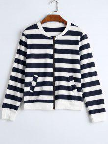 Zip Up Striped Jacket With Pockets - Purplish Blue 2xl
