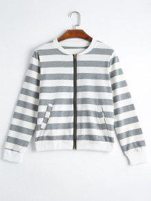 Zip Up Striped Jacket With Pockets - Gray 2xl