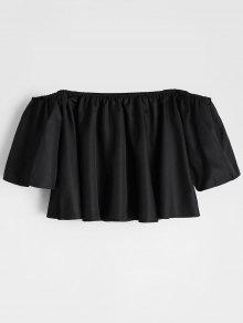 Buy Flare Sleeve Shoulder Cropped Blouse - BLACK XL