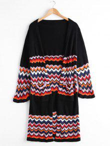 Open Front Zigzag Cardigan With Pockets - Black