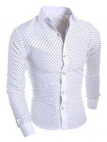 قميص طويل الأكمام ستار طباعة - أبيض Xl