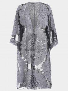 فستان كيمونو الجحم الكبير ربطة ذاتية غلاف - أسود Xl
