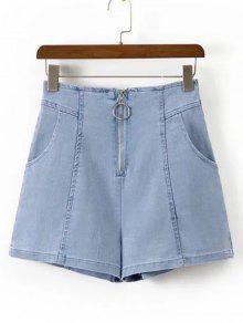 High Waisted Zip Up Denim Shorts - Denim Blue L