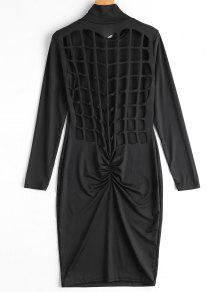 Ruched Back Cut Out Club Bodycon Dress - Black Xl