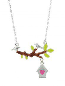 Bird Branch Love House Necklace - Silver