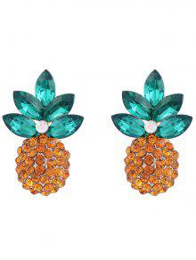 Faux Crystal Inlay Ananas Boucles D'oreilles - Or