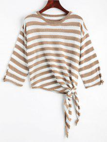 Open Sleeve Bow Tied Stripes Sweater - Khaki